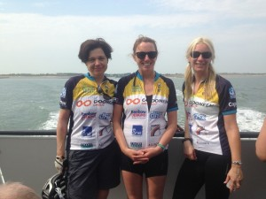 Alison Vellacott with Jane Patterson and Gemma Coles from Gemma on the 'cycle ferry' to Zeeland