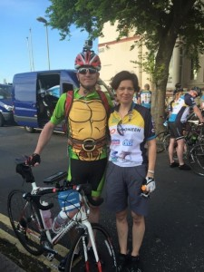 Nickelodeon's Mark Kingston and Alison Vellacott about to set off from Folkestone.