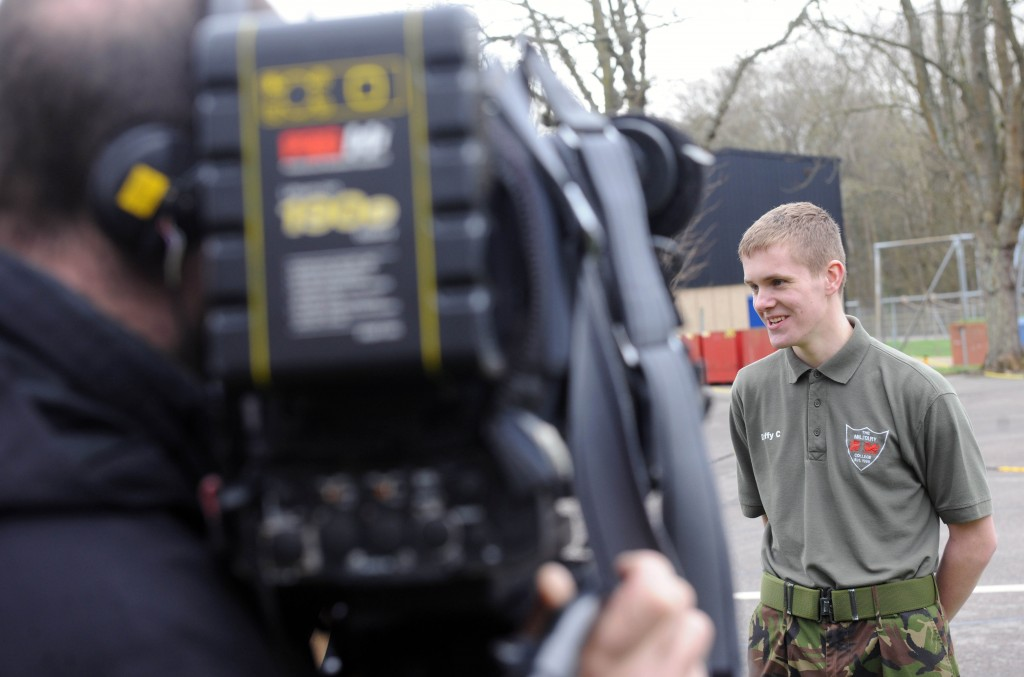 Connor Duffy being interviewed by the media at Farnborough Military Preparation College. Photographer: Terry Morris.
