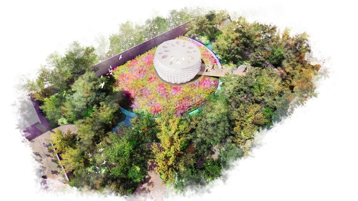 Aerial view Rewilding Garden AIPH. Image - Grant Associates